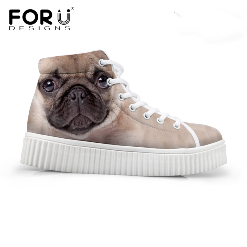 FORUDESIGNS Fashion Women Casual High Top Shoes Cute 3D Animal Pet Dog Pug Printed Platform Shoes Ladies Boots Lace-up Flats forudesigns cute animal dog cat printing air mesh flat shoes for women ladies summer casual light denim shoes female girls flats