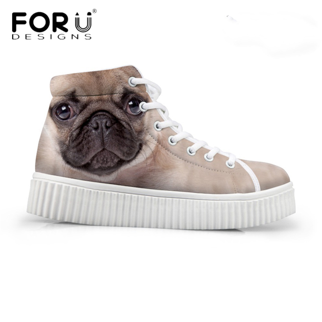 FORUDESIGNS Fashion Women Casual High Top Shoes Cute 3D Animal Pet Dog Pug  Printed Platform Shoes Ladies Boots Lace-up Flats 9474b708b943