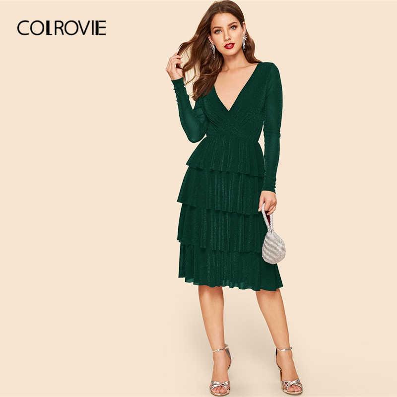Colrovie verde surplice envoltório em camadas plissado glitter vestido feminino 2019 glamourosa primavera verão v pescoço feminino ajuste e alargamento vestidos