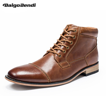 Big Size US 6-13 Genuine Leather Boots Men Lace Up Two Tone Boots Man Wedding Shoes Winter Eur Size 45 47 цены онлайн