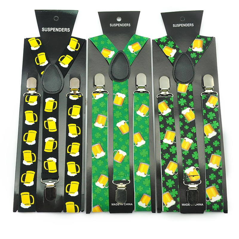 Men Women Unisex Clip-on Suspenders Elastic Slim Suspender 1inch Wide 5 Design Mix Yellow Beer Glass Cup Green Leaf Braces Strap