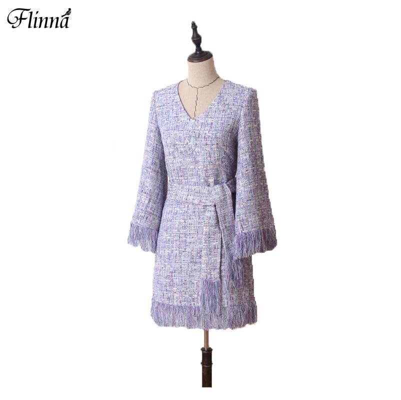 Women Tweed Cloth Long Sleeves Dress Lavender Purple Autumn Winter A Line Vintage Flare Sleeve Mini Dresses Elegant 2017