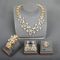 Dazz новый роскошный большой цветок в нигерийском стиле невесты резное ожерелье серьги, кольцо, браслет комплект тонкой циркониевые золотого