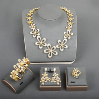 Dazz New Luxury Big Flower Nigerian Bride Hollow Out Necklace Earrings Ring Bangle Set Fine Zircon Gold Color Dubai Jewelry Sets