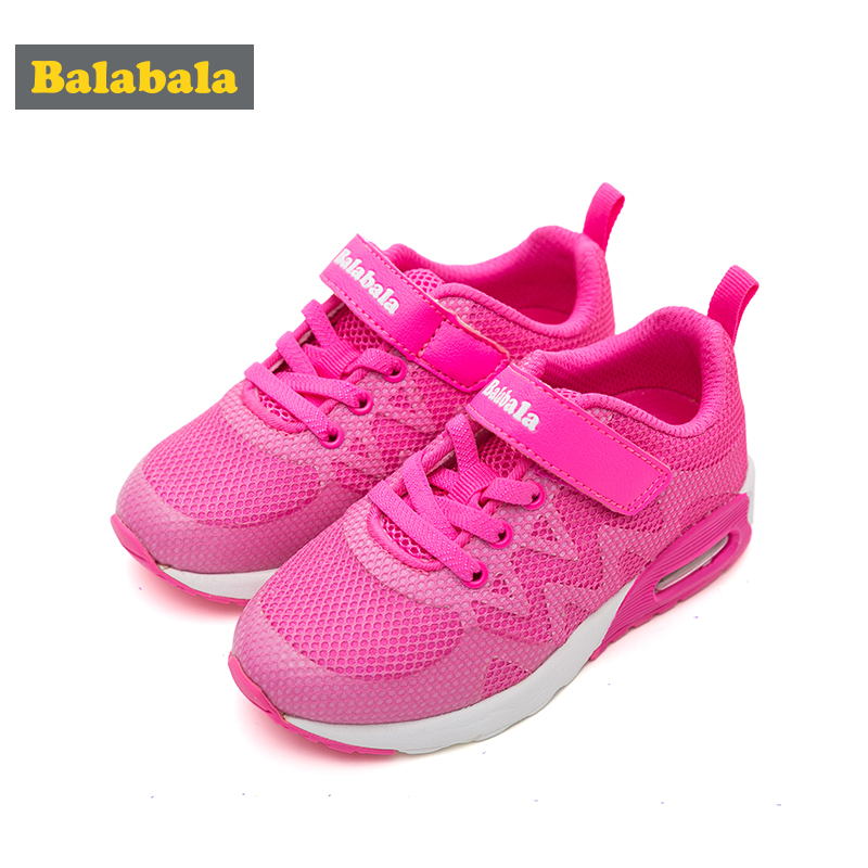 balabala Spring autumn children shoes girls breathable sneakers 2017 comfortable mesh children sports fashion red shoes children s shoes boys and girls ultralight casual sports shoes children fashion sneakers mesh fabric breathable travel shoes