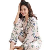 Women Long Sleeve Sleepwear Casual Home Wear Print Flower 2Pcs Shirt+Pants Sleep Set Spring Summer New Pajamas Pijama Set