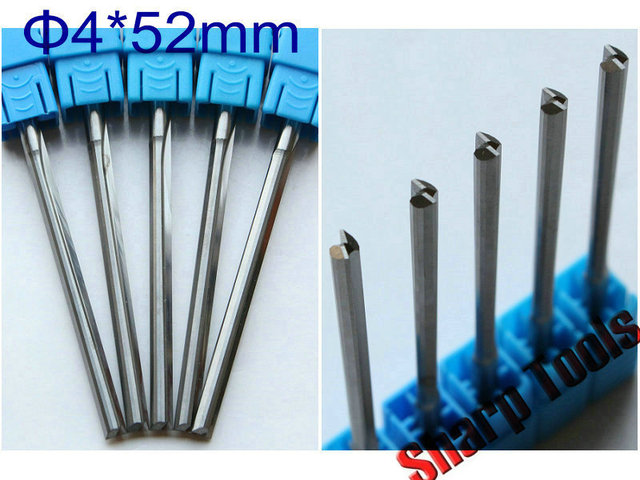 4x 52mm Double Straight Flutes Bit Tungsten Carbide CNC End Mills ...