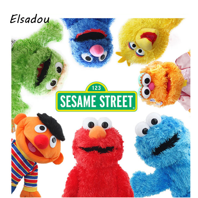 Elsadou Sesame Street Elmo and Friends Oscar Cookie Grover Zoe Ernie Big Bird Stuffed Plush font