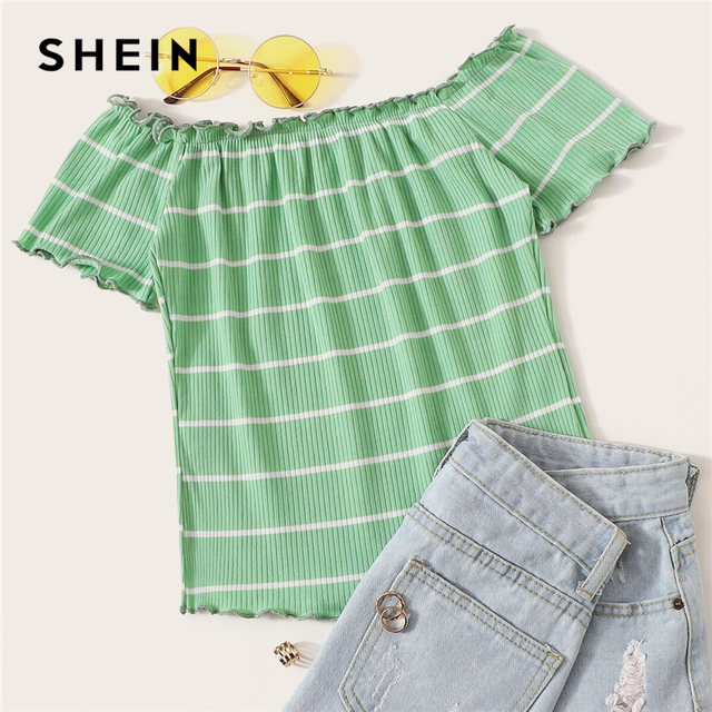 SHEIN Off Shoulder Striped Fitted Crop Top White Cap Sleeve Summer T Shirt Fabulous Style Women Summer Slim Fit 2019 Tees 4