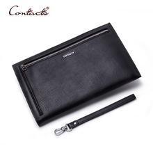 CONTACT'S Men Wallet Genuine Leather Male Wallets Card Coin Holder Purses Male Clutch Purse Pocket 2017 New Business Brand Sac