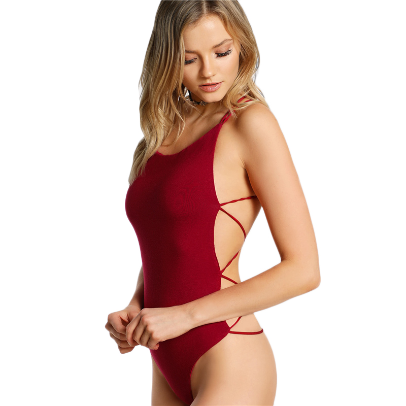 fa3021c7355 Details about Strappy Backless Bodysuit Women Black Sleeveless Summer Beach Hot  Bodysuits red