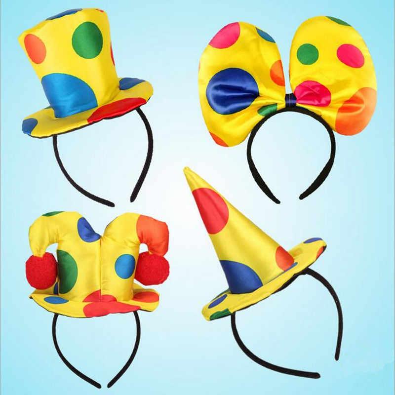 الجدة مهرج رباط رأس قبعة للأطفال الكبار السيرك مهرج أغطية الرأس الرقص حفلة تأثيري فستان مُصمم حسب الطلب حتى الدعائم هالوين