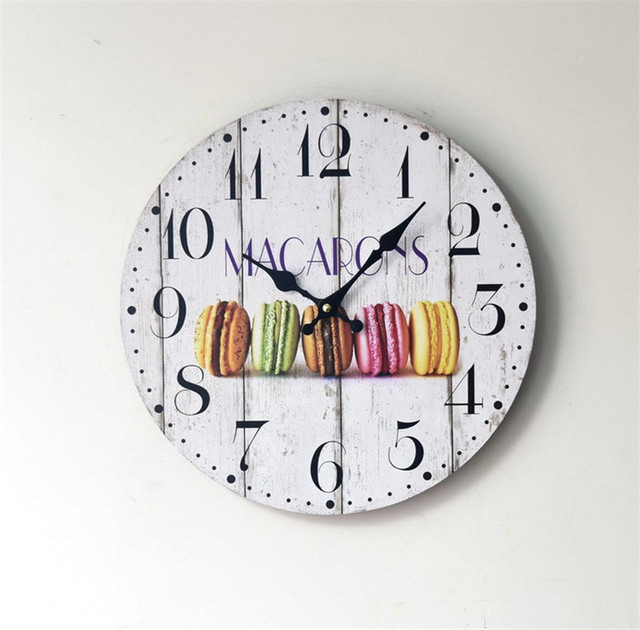 2017 Pastoral  Wooden Wall  Clocks Decorative Wall Hanging Clock Creative European Dessert  Pattern American  Home Decor Gifts