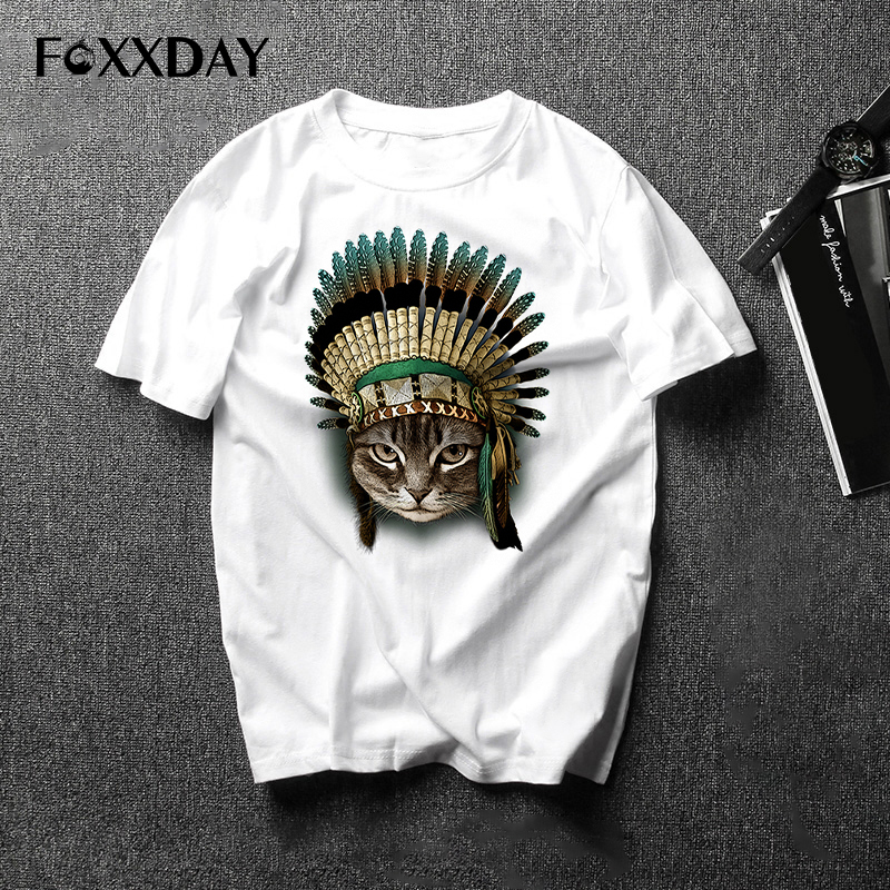 New Arrivals Fashion Tee shirt The Indian Chief Cat Design Men's T Shirt Boy Hipster Cool Tops Casual T-shirt Men Camiseta