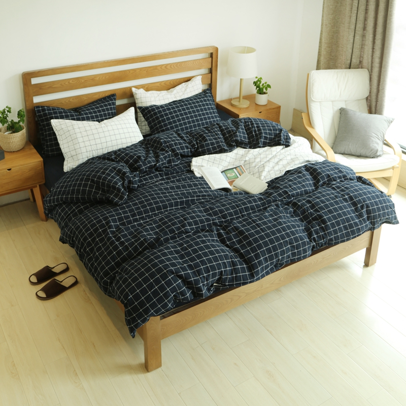 queen bedding set plaid bedspreads king size quilt cover 100 washed cotton bedding set duvets - Bedspreads King Size