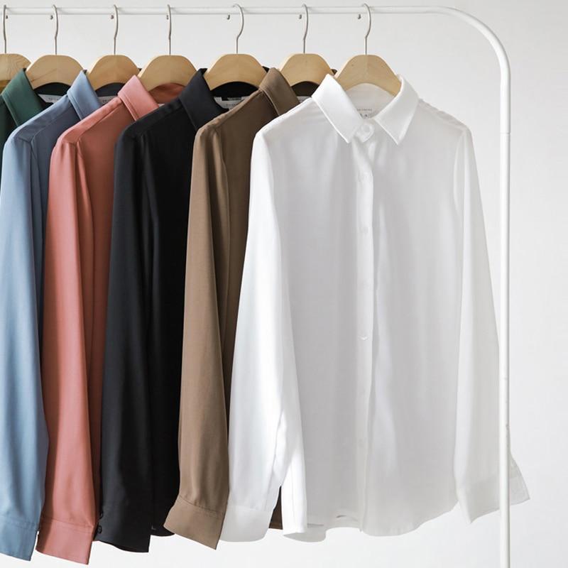 Nueva camisa de mujer blusa de chifón clásica femenina de talla grande suelta de manga larga Casual camisas señora estilo Simple Tops ropa blusas