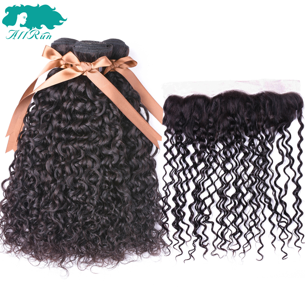 Peruvian Water Wave Human Hair Weave 3 Bundles With Lace Closure Frontal Allrun Ear To Ear Closure With Non Remy Hair Bundles