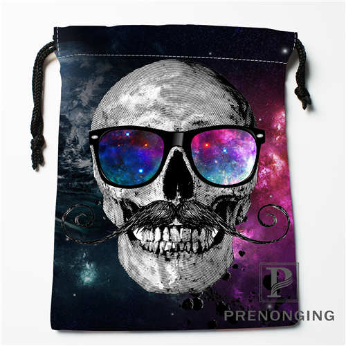 Custom Flower Skull Drawstring Bags Printing Fashion Travel Storage Mini Pouch Swim Hiking Toy Bag Size 18x22cm 171203-04-06