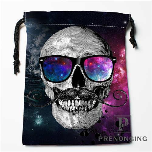 Custom Flower Skull Drawstring Bags Printing Fashion Travel Storage Mini Pouch Swim Hiking Toy Bag Size 18x22cm 171203-04-06
