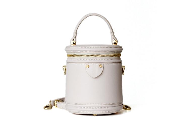 Women Tote Bag Genuine Leather Bucket Handbag Small Round Casual Big Capacity Woman Shoulder Bag Ladies Shopping Bags