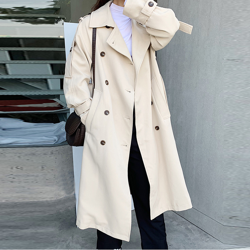 Autumn Korean Style   Trench   Coat for Women New 2019 Cotton Wild Casual Windbreaker Female Double-breasted Women Clothing