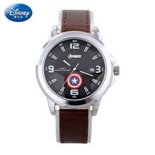 Disney бренда Мстители мужская 30 м водонепроницаемый кварцевые часы Кожа Мужчины календарь часы