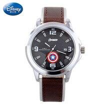 Relojes de los hombres de moda Marca de fábrica de Disney Reloj de cuarzo de los hombres Cuero digital impermeable Relojes masculinos relojes del relogio del muchacho del estudiante