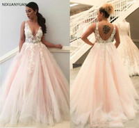 2019 Sexy V Neck Backless Wedding Dresses Flowers Lace Appliques Pink Bride Dress Robe De Soiree New Wedding Gowns