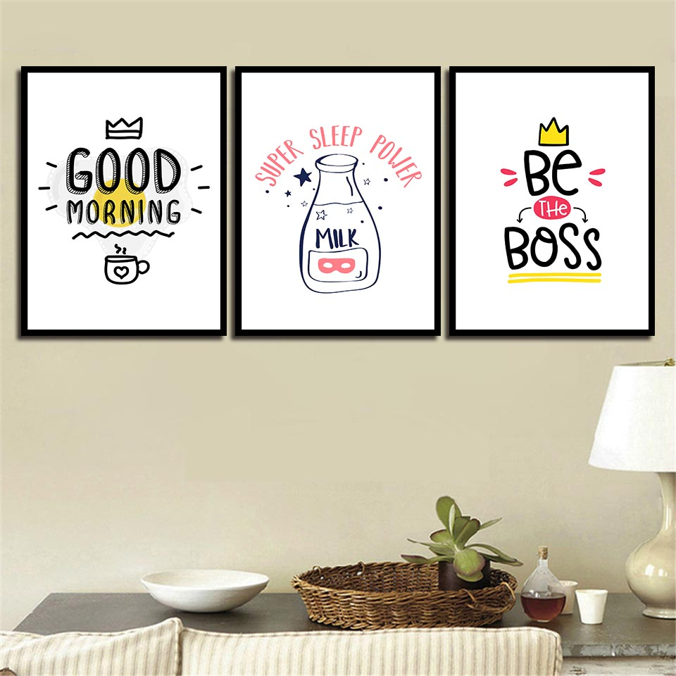 Prints Picture Quote Minimalism Cartoon Good Morning Simple Nordic HD Posters Wall Canvas Painting Abstract Photo Pop Art Decor