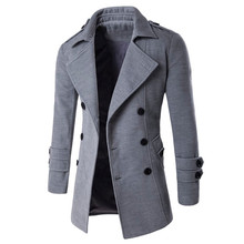 Autumn Winter 2016 Warm Coat Casual Double-breasted Long Wool Overcoat Fashion Turn Down Collar Male Outwear