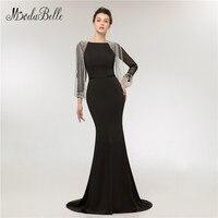 modabelle 2018 Prom Dresses With Sleeves Beaded Crystal Tassel Vestidos Formales Fiesta Mermaid Black Long Evening Gowns