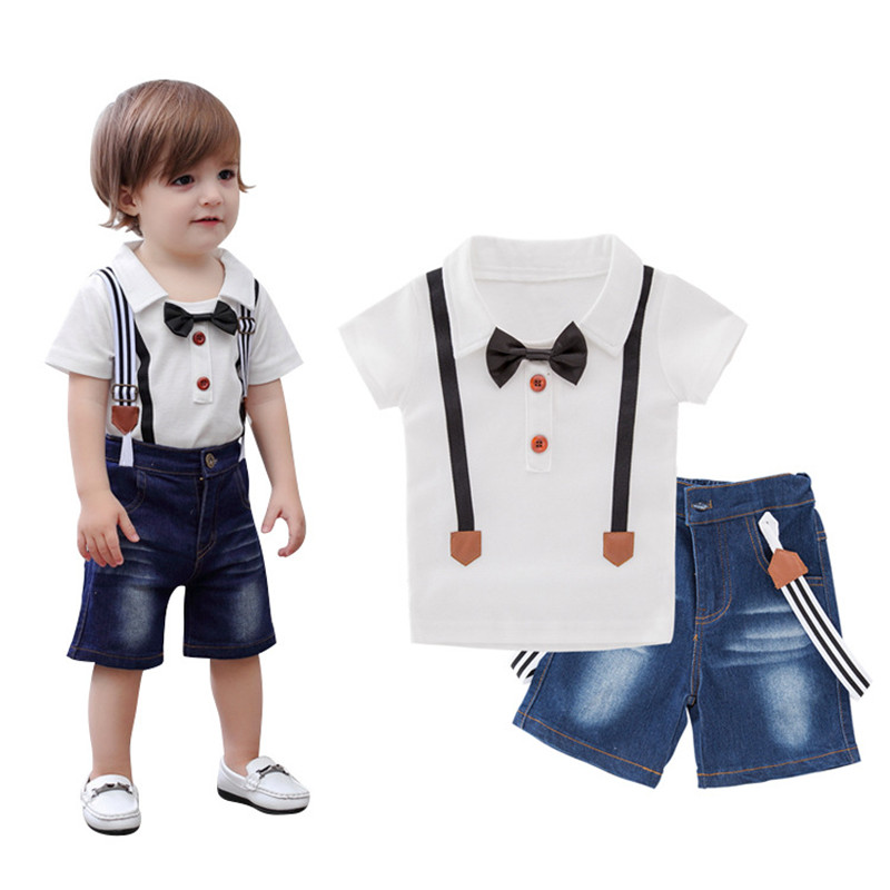 2018 Kids Clothes Set Boys Summer Suit Children's Clothing Sets Baby White T Shirt Denim Short Pants Jeans Overalls Infant Tops