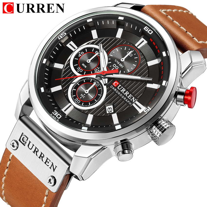 Watches Men Luxury CURREN Chronograph Leather Strap