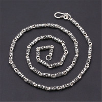 4mm 100% Pure 925 Sterling Silver Handmade Bamboo Barrel Beads Ancient Chains Necklaces for Men Women