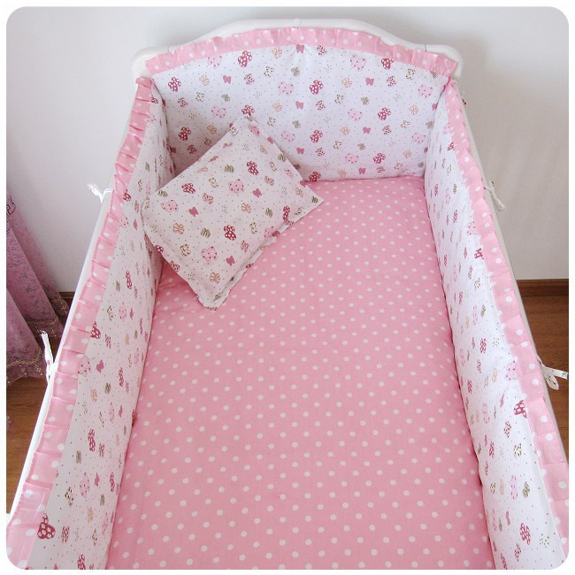 Promotion! 6PCS Pink Baby Bedding Printing Embroidery Crib Bedding Set (bumper+sheet+pillow cover)