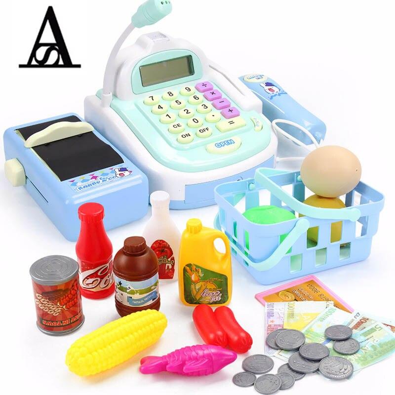 AITESEN shopping kid toys girls toys pretend play simulation cash register miniature furniture and fake food caja registradora