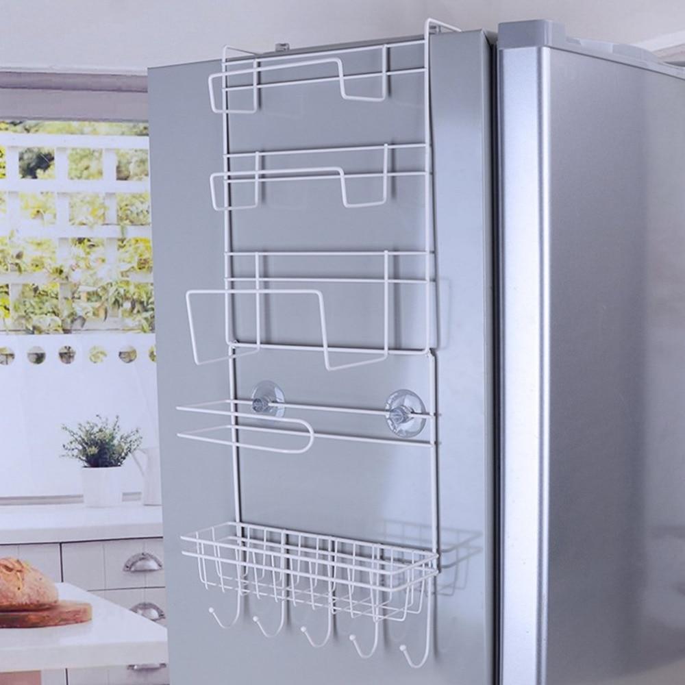 Rack de geladeira prateleira lateral sidewall titular multifuncional suprimentos de cozinha organizador do agregado familiar multi-camada geladeira armazenamento