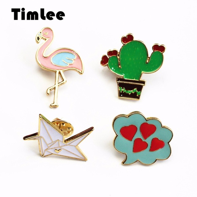 US $5 9 |Timlee X291 Cartoon Cute Flamingo Enamel Pin Cactus Origami Bird  Heart Design Metal Brooch Pins Wholesale TLW-in Brooches from Jewelry &