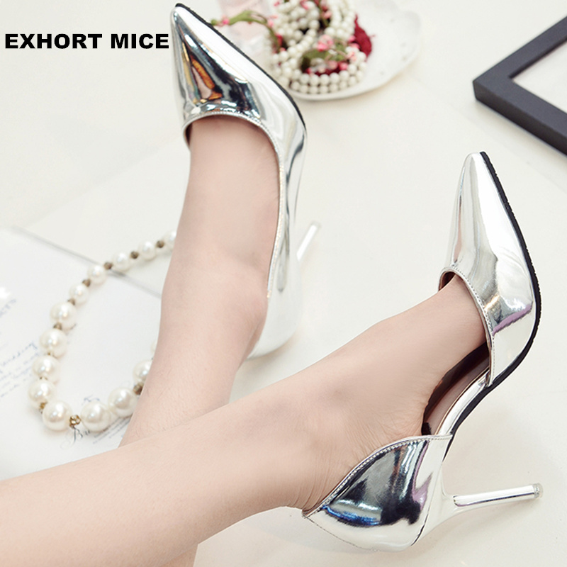 Hot 2019 Spring Autumn Women Pumps Sexy Gold Silver High Heels Shoes Fashion Pointed Toe Wedding Shoes Party Women Shoes 9cm
