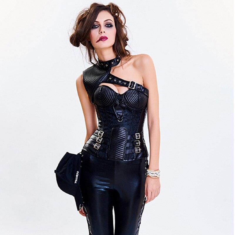 Gothique femme Punk Corset XXL grande taille noir armure Corselet Corset Steampunk Corsets et Bustiers Korsett pour femme