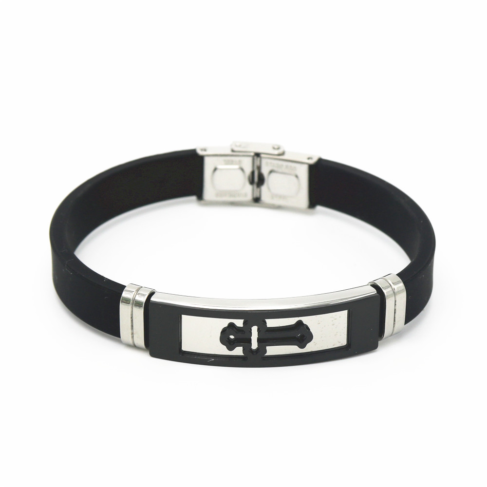 Купить с кэшбэком LUKENI Silicone Stainless Steel Cross Bracelet Bangle For Men Silver Gold Black Wristband Masculine Cool Jewelry Men Gift SH045