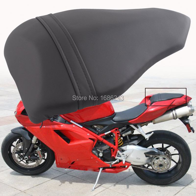 Motorcycle Black Back Seat Soft Comfortable Leather Pad Cusion Rear Seat Passenger Pillion for DUCATI 1098 1198 848