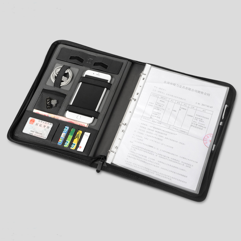 Business Leather File Folder A4 Manager Bag For Documents Padfolio With Zipper Ring Binder Ipad Cellphone Stand Holder 1235A