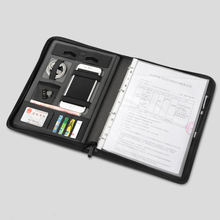 Business leather file folder A4 manager bag for documents padfolio with zipper ring binder ipad cellphone stand holder 1235A a4 multi function folder 4 s sales contract signing business binder skin lobby manager business leather notebook