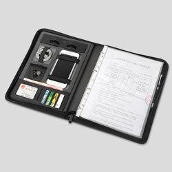 Business leder datei ordner A4 manager tasche für dokumente padfolio mit zipper ring binder ipad handy ständer halter 1235A