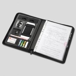 Business lederen map A4 manager tas voor documenten padfolio met rits ringband ipad mobiel stand houder 1235A