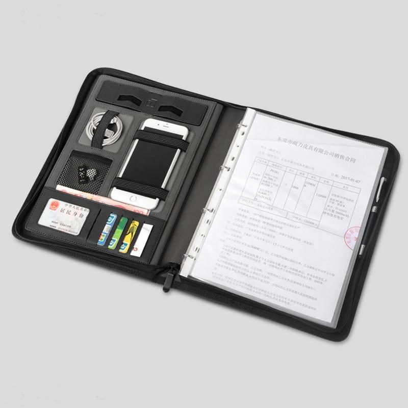 Dossier de dossier en cuir d'affaires A4 sac de gestionnaire pour documents padfolio avec fermeture à glissière reliure à anneaux ipad support de support de téléphone portable 1235A
