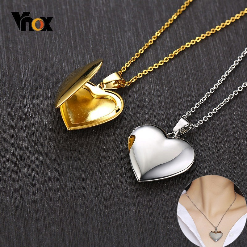 Vnox Heart Locket Pendants Photo-Frame Openable Necklaces Family Stainless-Steel Love-Collar