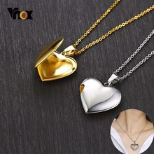 Vnox Light Heart Locket Pendants for Women Men Openable Photo Frame Glossy Stainless Steel Necklaces Family Love Collar(China)