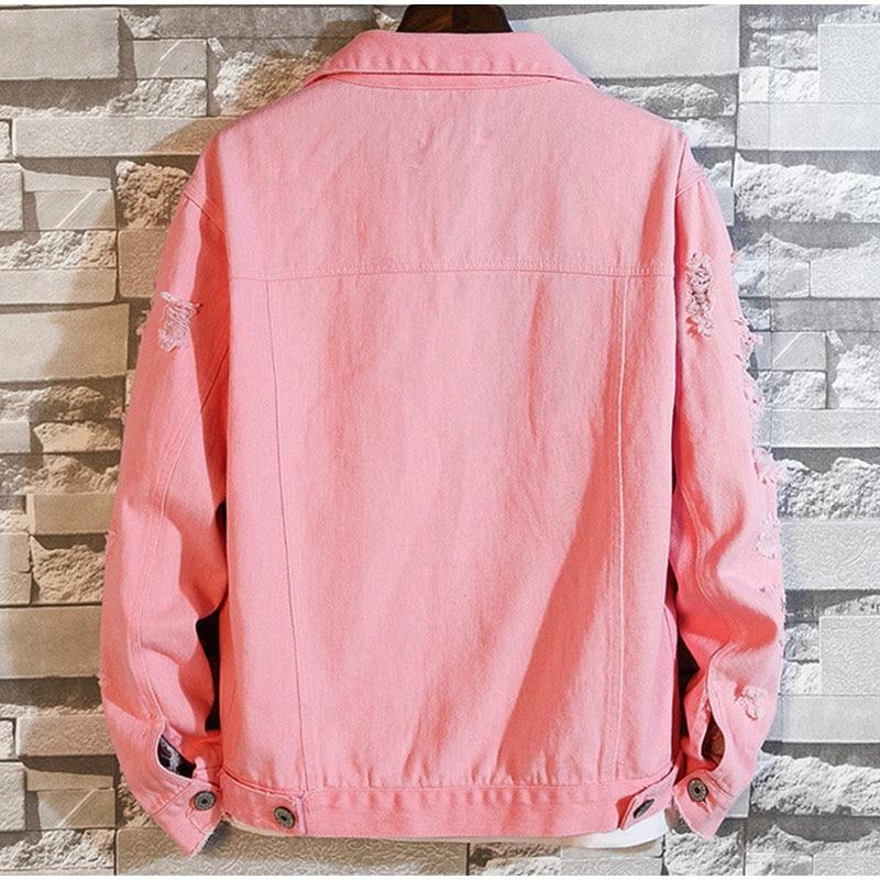 Plus tamanho solto rasgado preto denim jaqueta